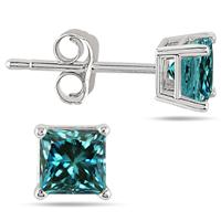 1.00 Carat Princess Cut Blue Diamond Solitaire Earrings in .925 Sterling Silver