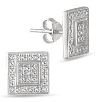 Diamond Accent Square Antique Earrings in .925 Sterling Silver