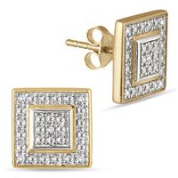 Diamond Antique Earrings in Gold Plated Sterling Silver
