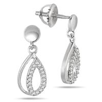 1/10 Carat Diamond Earrings in Solid .925 Sterling Silver