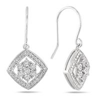 Estate Inspired Diamond Drop Earrings in .925 Sterling Silver