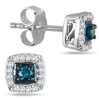 1/6 Carat TW Blue and White Diamond Halo Earrings in .925 Sterling Silver