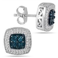 Blue Diamond Halo Earrings in .925 Sterling Silver
