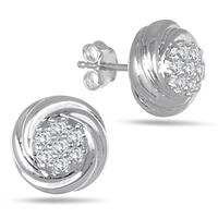1/4 Carat Diamond Cluster Earrings in .925 Sterling Silver