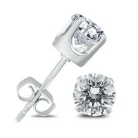 3/4 Carat TW Round Solitaire Diamond Stud Earrings in 14K White Gold