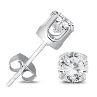 3/4 Carat TW AGS Certified Round Diamond Solitaire Stud Earrings in 14K White Gold (K-L-M Color, I2-I3 Clarity)