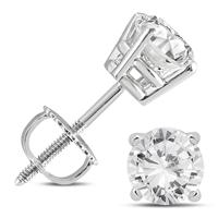14K White Gold 1 1/2 Carat TW AGS Certified Diamond Solitaire Earrings (K-L Color, I2-I3 Clarity)