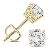 14K Yellow Gold 1 1/2 Carat TW AGS Certified Diamond Solitaire Earrings (K-L Color, I2-I3 Clarity)
