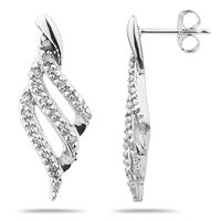 Diamond Ribbon Twist Earrings in White Gold