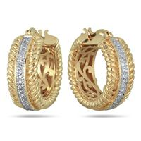 18K Gold Plated Brass Diamond Hoop Earrings