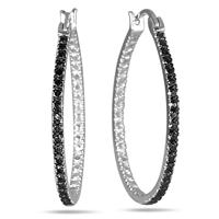 Black Diamond Hoop Earrings in Sterling Silver