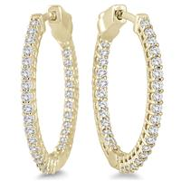 1 Carat Round Diamond Hoop Earrings with Push Down Button Lock in 10K Yellow Gold