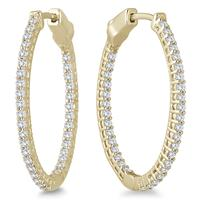 1 Carat TW Oval Diamond Hoop Earrings with Push Button Lock in 10K Yellow Gold