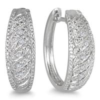 Diamond Earrings in .925 Sterling Silver
