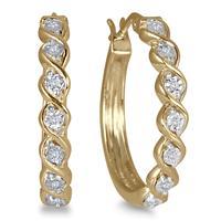 Diamond Hoop Earrings in Plated Sterling Silver