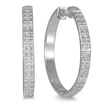 Diamond Hoop Earrings in .925 Sterling Silver