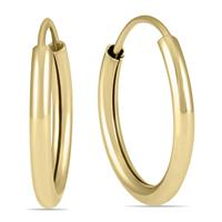 14MM Hoop Earrings 14k Yellow Gold