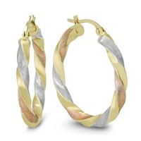 25MM Round Multi-Tone Hoop Earrings in 10K Gold