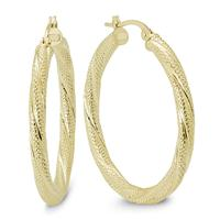 30MM Round Luster Hoop Earrings in 10K Yellow Gold