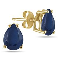All-Natural Genuine 6x4 mm, Pear Shape Sapphire earrings set in 14k Yellow gold