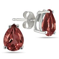 8x6MM All Natural Pear Garnet Stud Earrings in .925 Sterling Silver