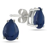 8x6MM All Natural Pear Sapphire Stud Earrings in .925 Sterling Silver