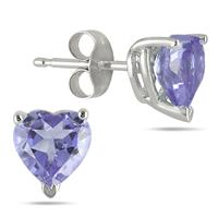 All-Natural Genuine 5 mm, Heart Shape Tanzanite earrings set in 14k White Gold