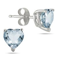 7MM All Natural Heart Aquamarine Stud Earrings in .925 Sterling Silver