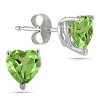 All-Natural Genuine 7 mm, Heart Shape Peridot earrings set in 14k White Gold