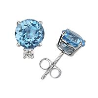 7mm Round Blue Topaz and Diamond Stud Earrings in 14K White Gold
