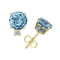 6mm Round Blue Topaz and Diamond Stud Earrings in 14K Yellow Gold