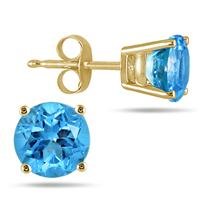 All-Natural Genuine 4 mm, Round Blue Topaz earrings set in 14k Yellow gold