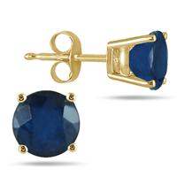 All-Natural Genuine 4 mm, Round Sapphire earrings set in 14k Yellow gold