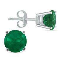 All-Natural Genuine 5 mm, Round Emerald earrings set in 14k White Gold