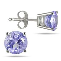 All-Natural Genuine 5 mm, Round Tanzanite earrings set in 14k White Gold