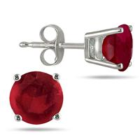 All-Natural Genuine 6 mm, Round Ruby earrings set in 14k White Gold