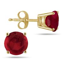 All-Natural Genuine 6 mm, Round Ruby earrings set in 14k Yellow gold