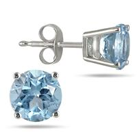 All-Natural Genuine 7 mm, Round Aquamarine earrings set in 14k White Gold