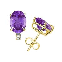 10X8mm Oval Amethyst and Diamond Stud Earrings in 14K Yellow Gold
