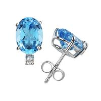 11X8mm Oval Blue Topaz and Diamond Stud Earrings in 14K White Gold