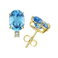10X8mm Oval Blue Topaz and Diamond Stud Earrings in 14K Yellow Gold