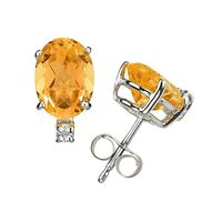 9X7mm Oval Citrine and Diamond Stud Earrings in 14K White Gold