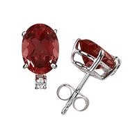 8X6mm Oval Garnet and Diamond Stud Earrings in 14K White Gold
