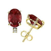 9X7mm Oval Garnet and Diamond Stud Earrings in 14K Yellow Gold