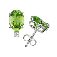 11X8mm Oval Peridot and Diamond Stud Earrings in 14K White Gold