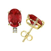 7X5mm Oval Ruby and Diamond Stud Earrings in 14K Yellow Gold