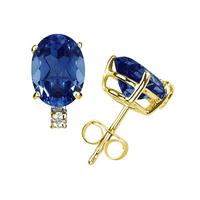 6X4mm Oval Sapphire and Diamond Stud Earrings in 14K Yellow Gold
