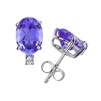 6X4mm Oval Tanzanite and Diamond Stud Earrings in 14K White Gold