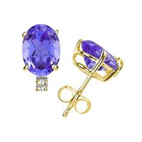 6X4mm Oval Tanzanite and Diamond Stud Earrings in 14K Yellow Gold