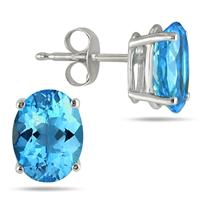 All-Natural Genuine 5x3 mm, Oval Blue Topaz earrings set in 14k White Gold